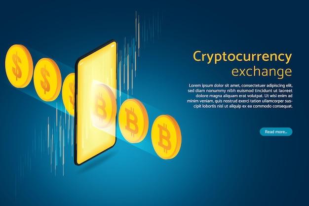 Compre e venda câmbio de criptomoeda online no smartphone para ganhar dinheiro digital