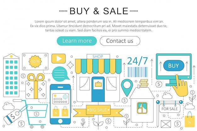 Compre e venda conceito de comércio