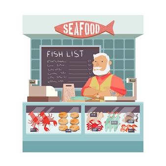 Compre frutos do mar. design plano
