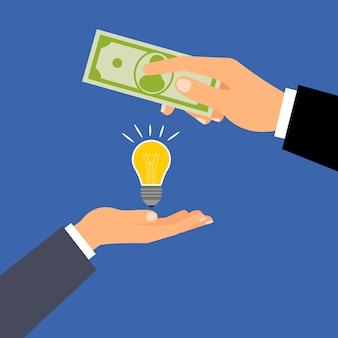 Compre ideia de dólares, conceito de negócio