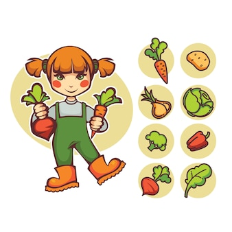 Compre local, garota de fazenda de desenho vetorial com cenoura e beterraba