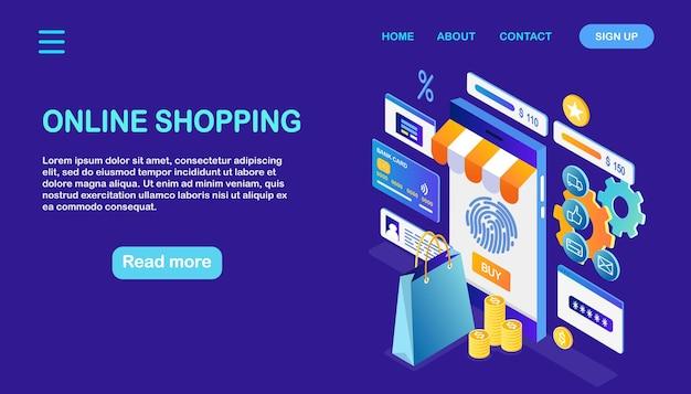 Compre na loja de varejo na página de destino da internet