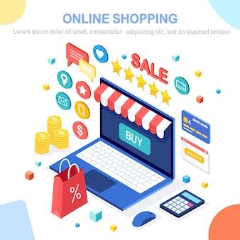 Compre na loja de varejo pela ilustração da internet Vetor Premium