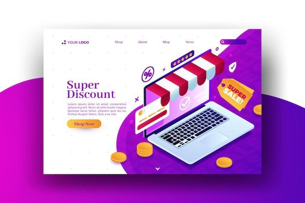 Compre na página de destino da web de venda de laptops pessoais