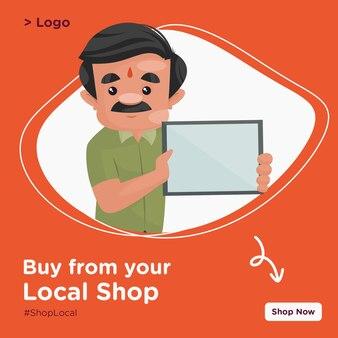 Compre na sua loja local o design do banner com o confeiteiro segurando uma placa