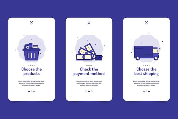 Compre o pacote de telas de aplicativos on-line