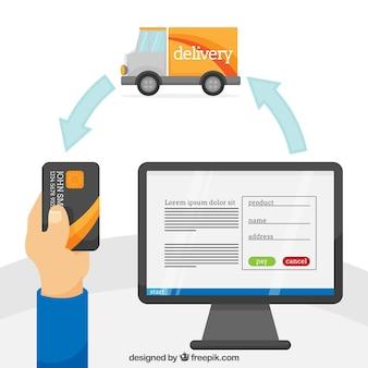 Compre on-line, cartão, computador e transporte