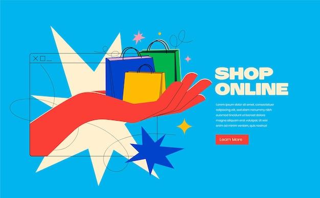 Compre on-line ou conceito de banner de serviço de entrega em cores brilhantes da moda com a mão saindo da tela e segure sacolas de compras sobre fundo azul.