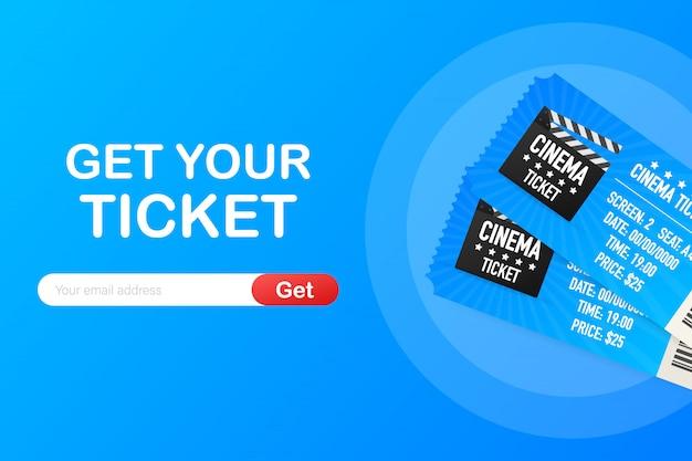Compre seu ingresso online. conceito de ordem on-line de bilhetes de cinema cinema.