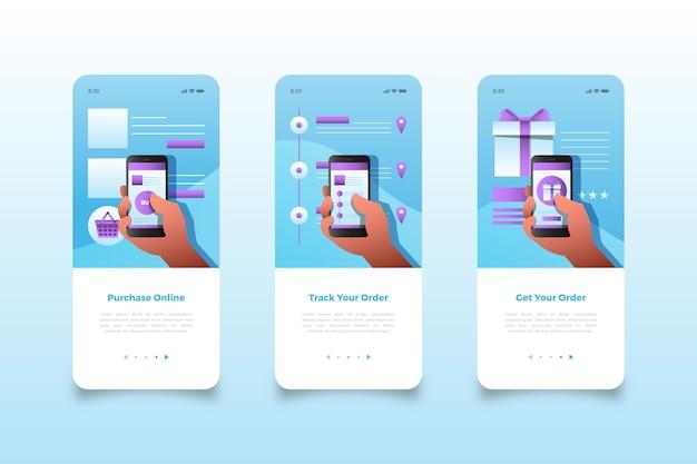 Compre telas de aplicativos móveis on-line