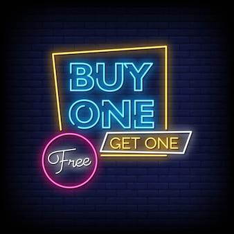 Compre um obtenha um texto de estilo de sinais de néon grátis