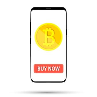 Compre uma moeda moeda mostrada na tela do telefone em branco