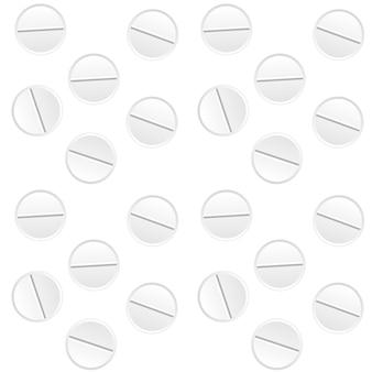 Comprimidos brancos naturalistas. cura para doenças. vacina em pílula. padrão uniforme. ilustração