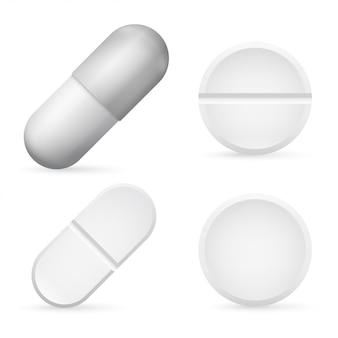 Comprimidos cápsulas 3d realista