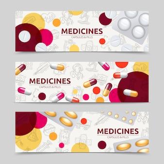 Comprimidos cápsulas e medicamentos conjunto banner horizontal