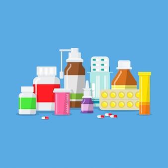Comprimidos, cápsulas, pílulas, medicamentos e frascos médicos