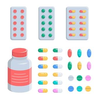 Comprimidos, cápsulas, vitaminas, dor e antidepressivos em bolhas e em um frasco. o conjunto é médico