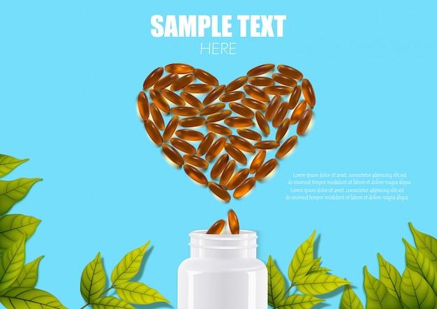 Comprimidos comprimidos cápsulas de drogas de plástico em forma de uma garrafa de coração