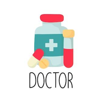 Comprimidos de ampola de frasco de medicamento conceito de medicamento com letras em estilo de desenho animado