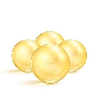 Comprimidos de óleo de peixe. cápsulas transparentes com suplemento nutricional ômega 3.