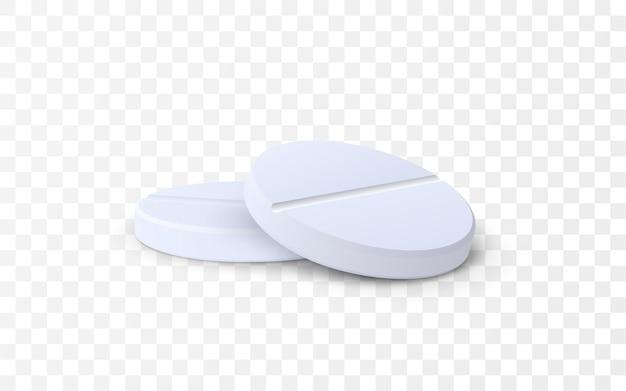 Comprimidos de remédio isolados em fundo transparente