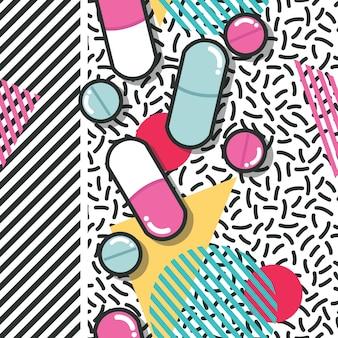 Comprimidos e cápsulas sem costura padrão, pop design moderno, cores ousadas e geometria