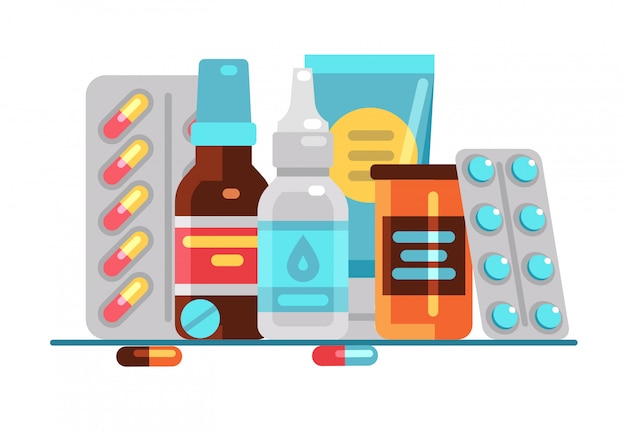 Comprimidos e frascos médicos