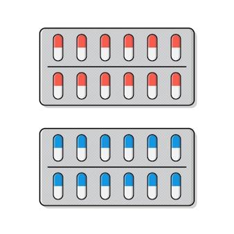 Comprimidos ou cápsulas de medicamento em ilustração de ícone de embalagem de bolha.
