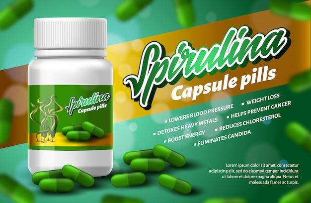 Comprimidos realísticos da cápsula de spirulina de superfood da garrafa