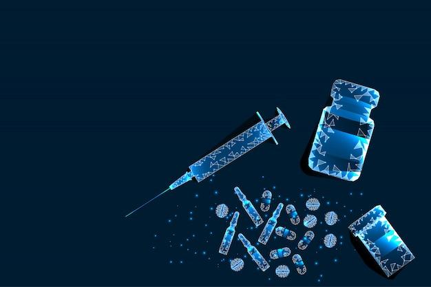Comprimidos, seringa. quadro poligonal abstrato do comprimido perto da garrafa e da seringa no fundo azul.