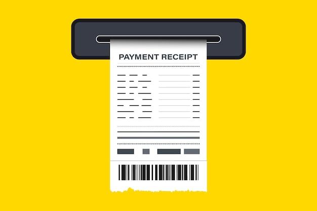 Comprovante de venda impresso em caixa eletrônico. o conceito de receber um cheque sobre o pagamento. recibo impresso em papel. recibo, recibo em papel, fatura, cheque financeiro. app financeiro