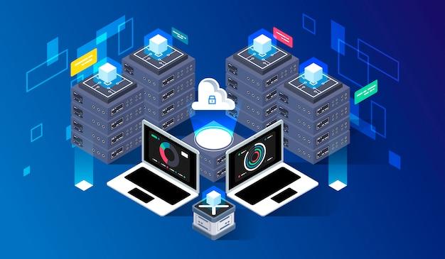 Computação de big data center, processamento de informações, banco de dados. roteamento de tráfego na internet, tecnologia isométrica de vetor para rack de sala de servidores.