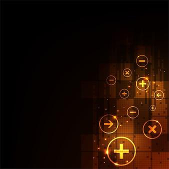 Computação de digitas em um fundo alaranjado escuro.