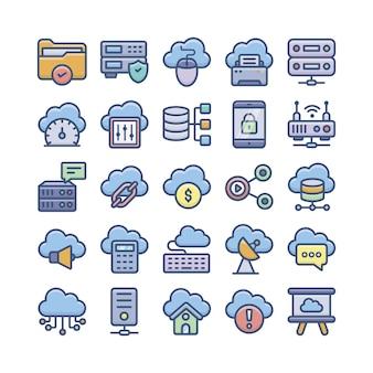 Computação em nuvem, armazenamento em nuvem e bancos de dados vetores planos