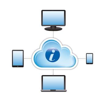 Computação em nuvem com ícones sobre vetor de fundo branco