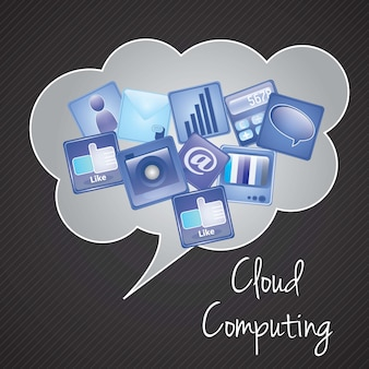 Computação em nuvem com ilustração em vetor ícones apps (cores azuis e pretas)
