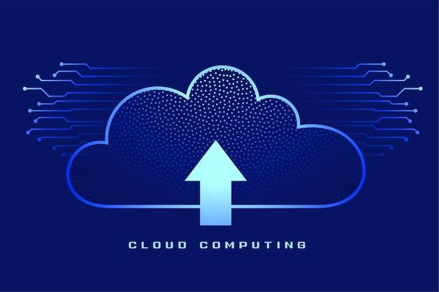 Computação em nuvem com símbolo de seta de upload