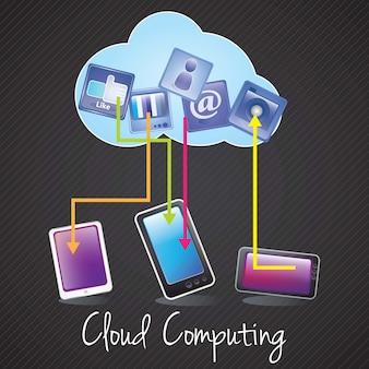 Computação em nuvem conceito design dispositivos conectados e apps ilustração vetorial
