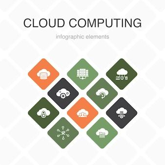 Computação em nuvem infográfico 10 opções de design de cor. backup em nuvem, data center, saas, ícones simples de provedor de serviços