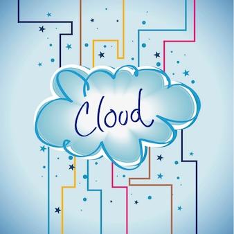 Computação em nuvem linhas abstratas com cores
