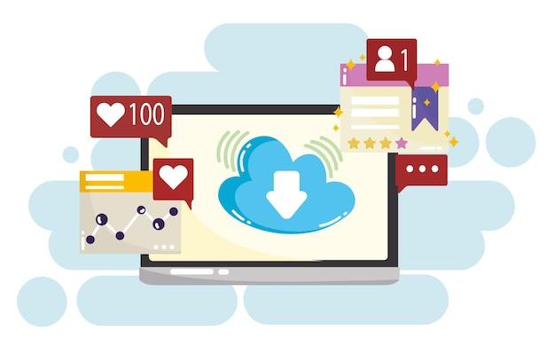 Computação em nuvem móvel de mídia social, como seguir ilustração de mensagem de bate-papo sms