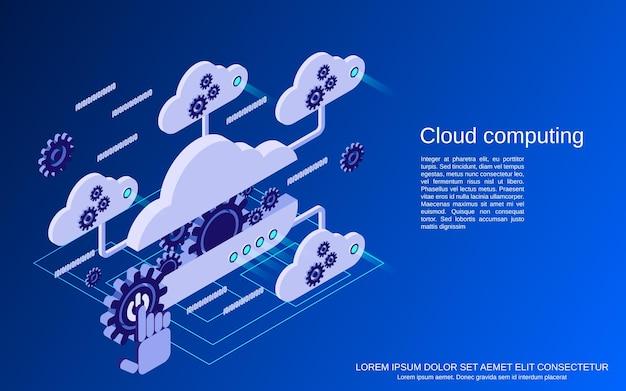 Computação em nuvem, rede, ilustração de conceito isométrico plano de processamento de dados