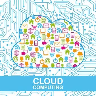 Computação em nuvem sobre ilustração em vetor fundo circuito
