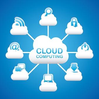 Computação em nuvem sobre ilustração vetorial de fundo azul