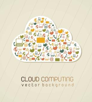 Computação em nuvem sobre ilustração vetorial de fundo vintage