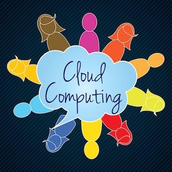 Computação em nuvem trabalho em equipe pessoas coloridas ilustração vetorial