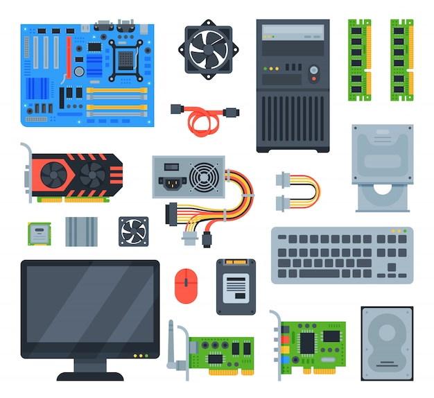 Computador acessórios pc placa mãe memória e teclado ilustração conjunto de computação isolado