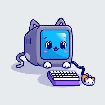 Computador bonito do gato com ilustração do ícone do vetor dos desenhos animados do mouse. conceito de ícone de tecnologia animal isolado vetor premium. estilo flat cartoon