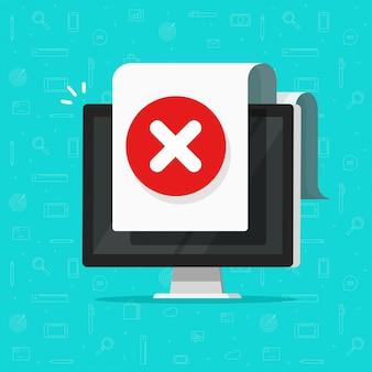Computador com alerta de sinal de documento de erro ou pc com símbolo de aviso ou falha
