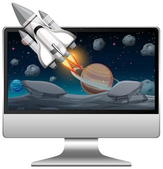 Computador com cena espacial